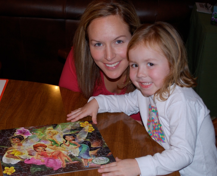 Mama and Ruby after finishing her Tinkerbelle puzzle