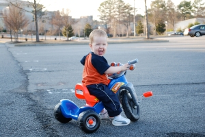 Mack on his Hot Wheels from Sweetie and PawPaw