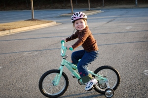 Ruby on her new bike