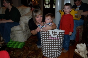 Aunt Cacy and Kaybeth in her gift from us