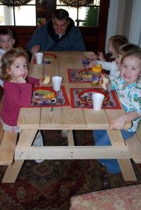 "All the grandkids at ""the kid table"""