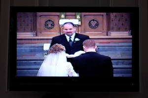 The girls and I watched our wedding video this morning.