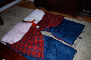 The empty sleeping bags the girls were supposed to be in.....