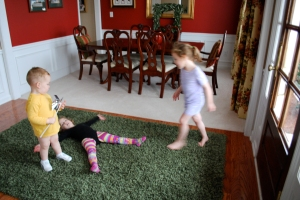 "Or watch Molly make carpet angels (while still wearing her dance attire with colorful tights) and watch Ruby continue to dance to ""Connected""?"