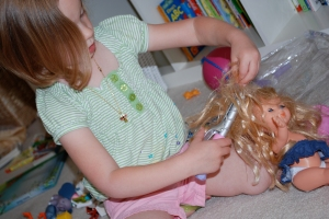 Molly also got a set of hair stuff for her baby dolls.