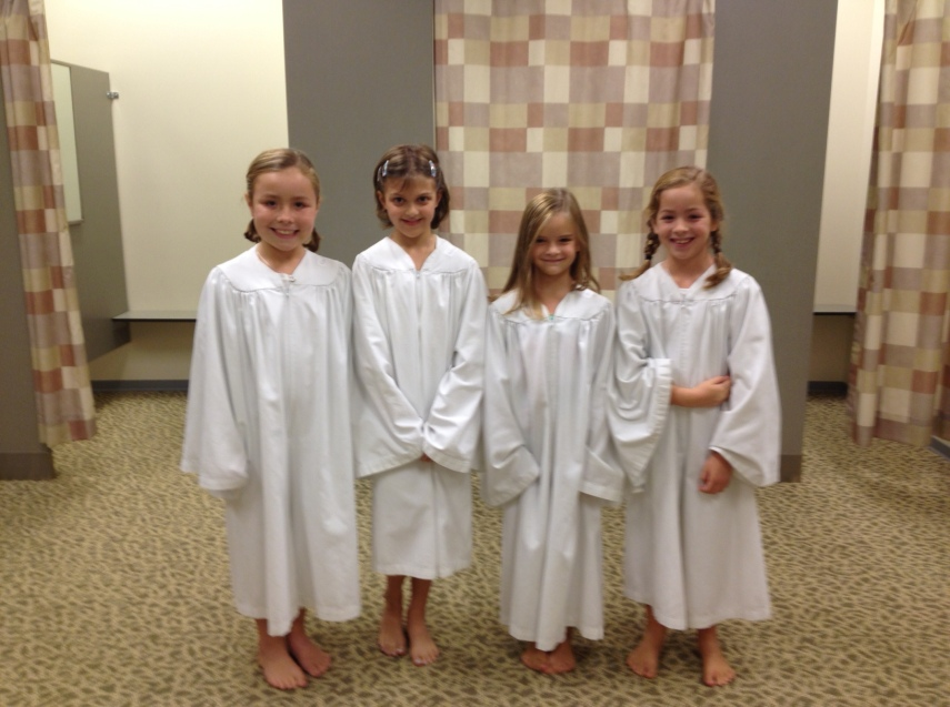 These are the four girls who were baptized. 9 year old, 8 year old, 7 year old and a 6 year old!