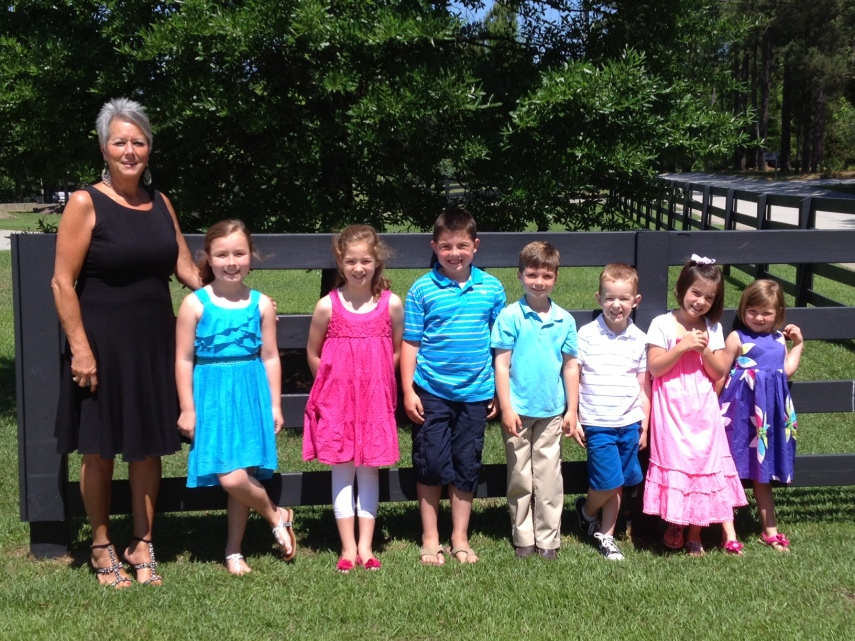 My mom with all seven of her grandkids